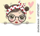 greeting card cute cartoon girl ...   Shutterstock .eps vector #693743587