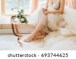 beautiful caucasian bride in... | Shutterstock . vector #693744625