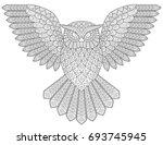 flying owl. adult antistress... | Shutterstock . vector #693745945