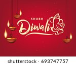 happy diwali wallpaper design... | Shutterstock .eps vector #693747757