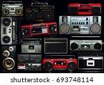 vintage wall full of radio... | Shutterstock . vector #693748114