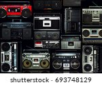 vintage wall full of radio... | Shutterstock . vector #693748129