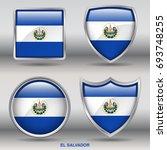 flag of el salvador in 4 shapes ... | Shutterstock .eps vector #693748255