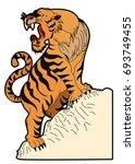 tiger vector is on white... | Shutterstock .eps vector #693749455