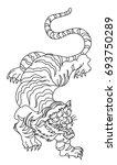 outline and doodle art tiger...   Shutterstock .eps vector #693750289