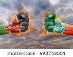 two fist with the flag of kenya ... | Shutterstock . vector #693753001