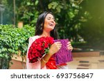young beautiful laughing indian ... | Shutterstock . vector #693756847