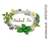 vector oval ornament of herbs... | Shutterstock .eps vector #693762721