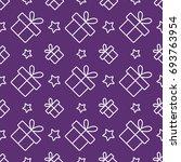 gift present with stars line... | Shutterstock .eps vector #693763954