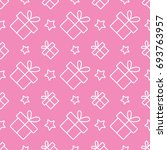 gift present with stars line... | Shutterstock .eps vector #693763957