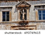 Small photo of Sponza Palace (Palaca Sponza), also called Divona (from dogana, customs), name from spongia, the spot where rainwater was collected, a 16th-century palace in Dubrovnik, Croatia