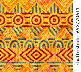 seamless ethnic pattern. orange ... | Shutterstock .eps vector #693770611