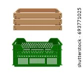 plastic and wooden crates for... | Shutterstock .eps vector #693771025