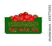 plastic crate with tomatoes....   Shutterstock .eps vector #693771031