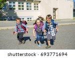 nice pre school children on the ... | Shutterstock . vector #693771694