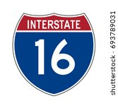 interstate highway 16 road sign | Shutterstock .eps vector #693789031