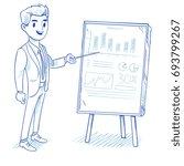 happy businessman explains... | Shutterstock . vector #693799267