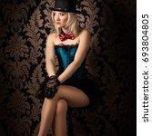 beautiful cabaret woman posing... | Shutterstock . vector #693804805