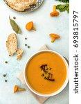 chanterelles creamy soup. top... | Shutterstock . vector #693815797