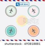blank postal stamps set... | Shutterstock .eps vector #693818881