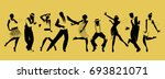 silhouettes of nine people... | Shutterstock .eps vector #693821071