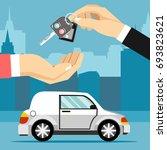 car seller hand giving key to... | Shutterstock .eps vector #693823621