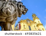 famous theatiner church in munich - germany - stock photo