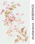 graceful flowers  the leaves... | Shutterstock . vector #693839425