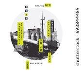 New York Brooklyn bridge illustration, tee shirt graphics, vectors, typography | Shutterstock vector #693844489