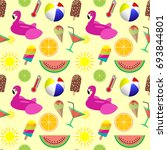 colorful summer seamless... | Shutterstock . vector #693844801