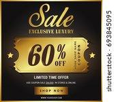 luxury gold sale banner template | Shutterstock .eps vector #693845095