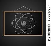 blank blackboard in wooden... | Shutterstock .eps vector #693847879