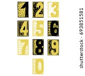 numbers set in sketch style.... | Shutterstock .eps vector #693851581