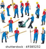 team of construction workers in ... | Shutterstock . vector #69385252