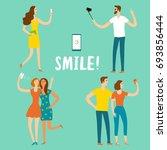 set of cartoon people using... | Shutterstock .eps vector #693856444