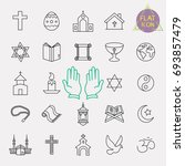 religion line icon set | Shutterstock .eps vector #693857479