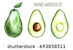 avocado fruit watercolor food... | Shutterstock . vector #693858511