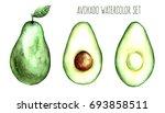 avocado fruit watercolor food...   Shutterstock . vector #693858511