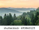 Stock photo sunrise in mountains near ustrzyki dolne 693863125