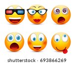 smiley with blue eyes emoticon... | Shutterstock .eps vector #693866269