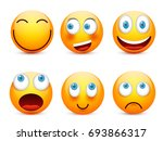 smiley with blue eyes emoticon... | Shutterstock .eps vector #693866317