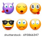 smiley with blue eyes emoticon... | Shutterstock .eps vector #693866347