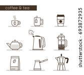 coffee and tea icons collection.... | Shutterstock .eps vector #693872935