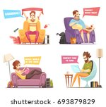 sedentary persons retro cartoon ... | Shutterstock .eps vector #693879829