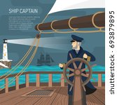 sailing ship captain at wheel... | Shutterstock .eps vector #693879895