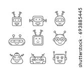 a set outline robot icons for... | Shutterstock .eps vector #693885445