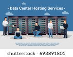 group of data center hosting... | Shutterstock .eps vector #693891805