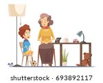 grandmother talking to little... | Shutterstock .eps vector #693892117