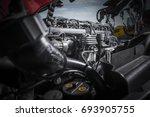 semi truck tractor engine... | Shutterstock . vector #693905755