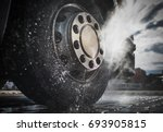 semi truck wheels high... | Shutterstock . vector #693905815